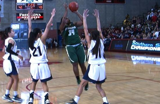 St. Monica guard Briana Harris hits a fade-away jumper in the fourth quarter to tie the game at 42-42 against St. Paul in the CIF Southern Section Finals at Mater Dei High School Saturday night.
