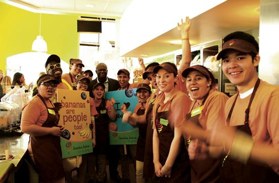 Jamba Juice celebrates the opening of its new store in Santa Monica.