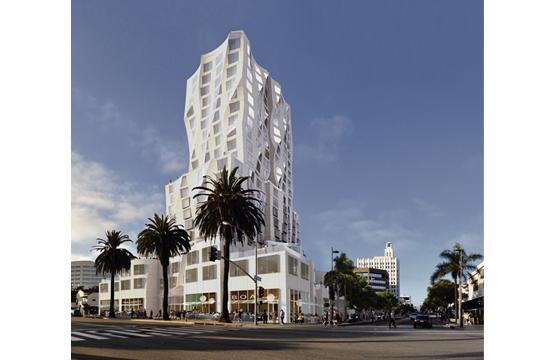 A rendering of the proposed Frank Gehry project on the north corner of Santa Monica Boulevard and Ocean Avenue.