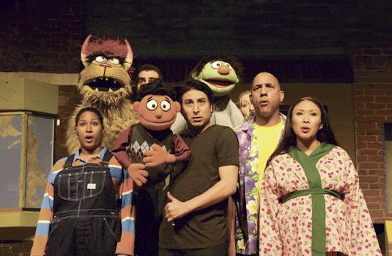 """Santa Monica's Morgan-Wixson Theatre presents """"Avenue Q"""" through April 6. From left: Celia M. Rivera"""