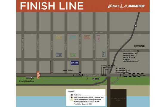 LA Marathon runners will complete the 26.219 mile footrace at California and Ocean Avenue in Santa Monica on Sunday.