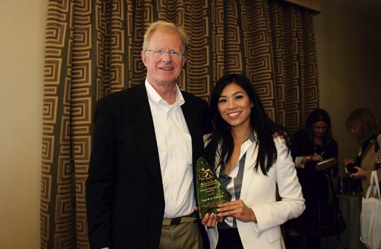 Environmental activist and actor Ed Begley Jr. received an Individual Stewardship Award at the Sustainable Quality Awards held Wednesday. He is pictured with grand prize winner Catherine An of Tiato restaurant.