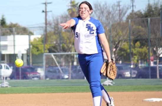 SMC pitcher Devyn Souza pitches the ball for a strike against LA Mission College in the first game of the double header at John Adams Middle School field Thursday afternoon.