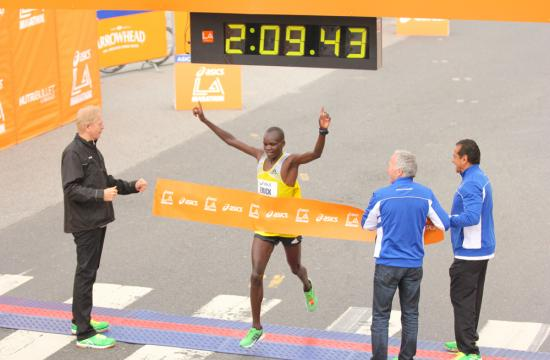 Erick Mose of Kenya wins the 2013 Asics LA Marathon to win the men's race with a 2:09:42 in Santa Monica