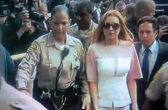 Lindsay Lohan arrives late at the LAX branch courthouse on Monday
