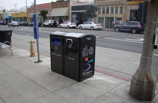 The BigBelly Solar Trash and Recycling Containers on Main Street.