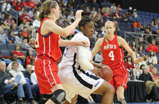 Windward's Kristen Simon looks to score a basket against Mater Dei in the 2013 CIF So. California Regional Championships at the Citizens Business Bank Arena in Ontario Saturday night.  Simon scored 14 points and had 17 rebounds to give her a double-double in the game.