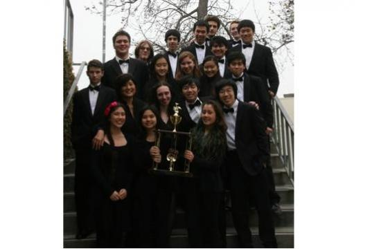 The Santa Monica High School Chamber Orchestra with their trophy in Oregon.