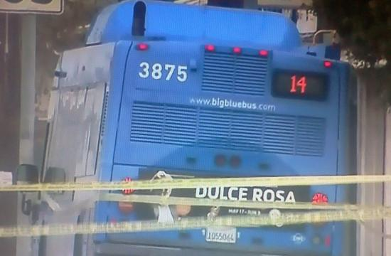 The Big Blue Bus was cordoned off Monday morning in Del Rey.