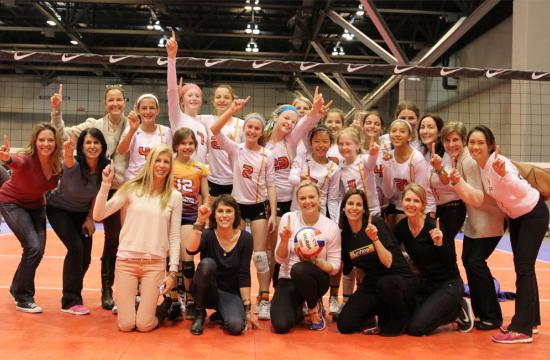 The Sunshine 12 Westside girls volleyball team celebrates after winning the Mideast Qualifier in St. Louis on March 17.  With the win