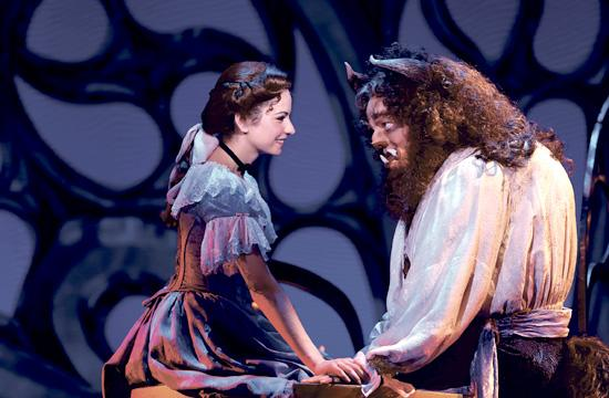 "Hilary Maiberger as Belle and Darick Pead as Beast in Disney's ""Beauty and the Beast"" on stage at the Pantages through April 7."