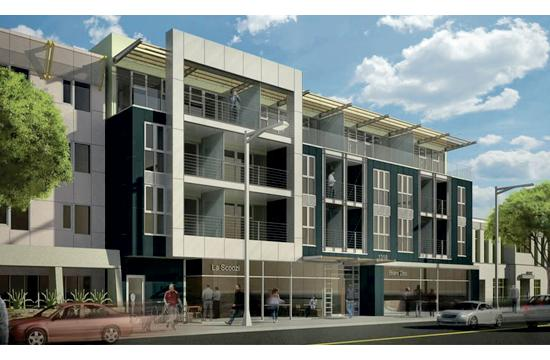A rendering of the proposed four-story development that would include 28 studios