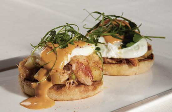 Wilshire Restaurant's executive chef Nyesha Arrington's Crabmeat Benedict with potato