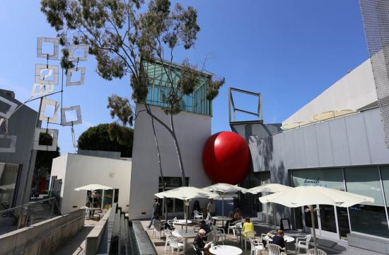 The Red Ball at the Edgemar Building on Main Street in Santa Monica.