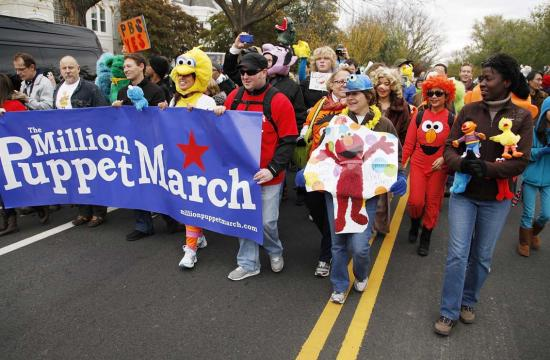 The parade is being organized by the Million Puppet March