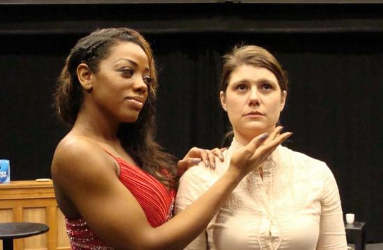 Janiqua Nettles and Diane Fidalgo in 'Trailer Trash Housewife' at Santa Monica College.