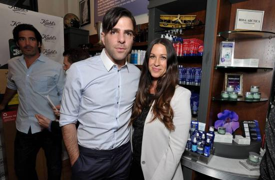 Zachary Quinto and Alanis Morissette at Kiehl's Since 1851 on Montana Avenue in Santa Monica on April 17.