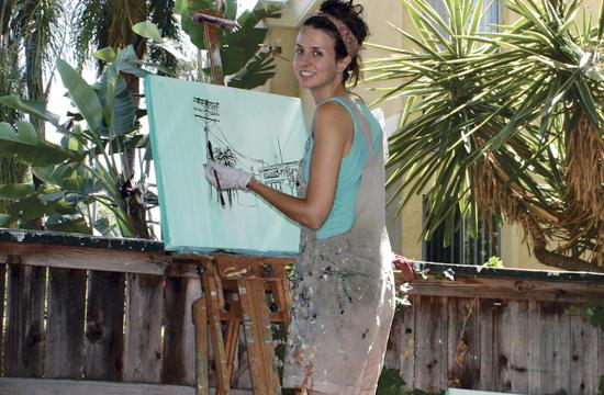"""Artist Brooke Harker is looking forward to the one night only """"Canvas Streets"""" event this Saturday from 6-10 pm at Destroy Rebuild Repeat Gallery in Santa Monica."""