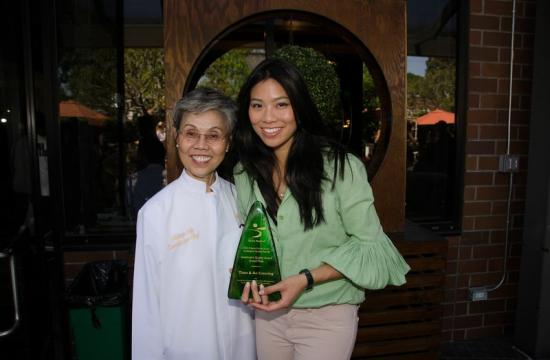 Chef Helene An and Catherine An with their Sustainable Quality Award.