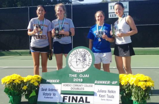 From left to right: Victoria Vo and Sarah Anderson of Fullerton College and Juliana Nelkin and Kaori Tsuda show off their medals in the California State Community College Tennis Finals at The Ojai