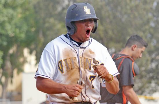 Samohi's Mason Landis celebrates after scoring a run in the fourth inning against the Beverly Hills Normans at home Tuesday afternoon.