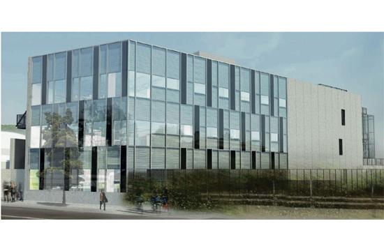 A rendering of the proposed science learning center at Crossroads School for Arts