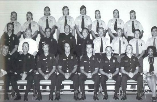 Captain Jerry Parker (third from right-bottom row) at Paramedic School graduation in 1974.