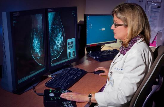 Dr. Anne Hoyt views a mammogram at the Barbara Kort Women's Imaging Center near UCLA Medical Center