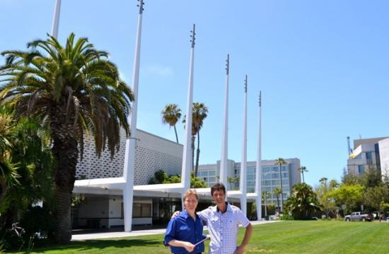 Santa Monica Symphony music director Guido Lamell (left) special guest Antonio Lysy.
