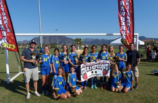 Santa Monica AYSO Girls U14 carded an impressive 4-0 record en route to their win at the 19th Annual Strawberry Cup soccer tournament held in Camarillo on Sunday May 12.