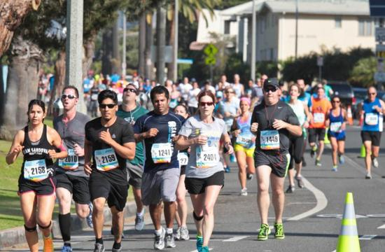 Thousands of runners participate in the Santa Monica Classic 5k and 10k races in Santa Monica on Sunday.