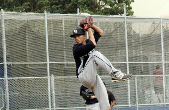 New Roads lefty pitcher Christian Vibiano lets off a pitch against Temecula Prep at home Tuesday afternoon.
