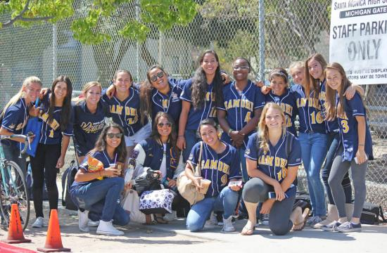 The Samohi girls softball team poses outside Santa Monica High School Tuesday morning prior to traveling to the CIF-SS Semi-Finals Championship game away against Dos Pueblos High School.