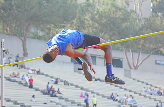 World class high jumper Nick Ross seemingly defies gravity while attempting a 7 foot 7 inch jump.  Ross set the Jim Bush Track and Field meet record clearing the bar with a 2.28 meter jump (7.5 and 3/4 feet) after clearing six bars at UCLA Saturday afternoon.