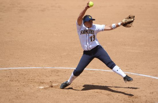 Vikings Sarah Garcia winds up for a pitch in the CIF Championship game against Hemet at UCI in Irvine Saturday afternoon.