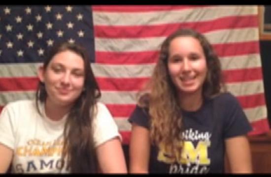 Samohi students Sam and Nikki in the Youtube video.