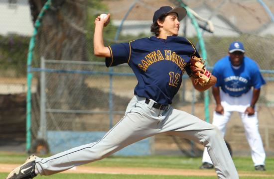 Santa Monica High School's Conner Greene pitches a ball as a junior during the 2012 baseball season gaining notoriety as a blue chip pitcher.  Greene led the Vikings to a 10-0 Ocean League record during the 2013 baseball season.