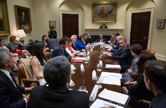 Nathalie Rayes recently attended a meeting with President Obama and Vice President Biden with Latino leaders (she is second from left).