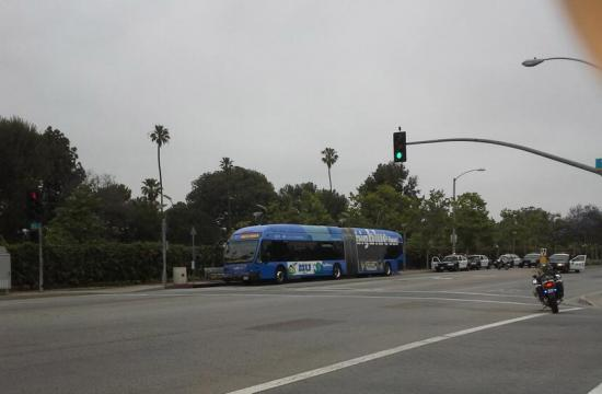 The Big Blue Bus was stopped and searched on Pico Boulevard at 14th Street just after 8:30 am Thursday.