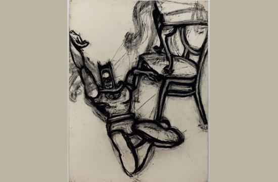 "Joyce Pensato's ""Batman Chair I."" 1976. Charcoal on paper."