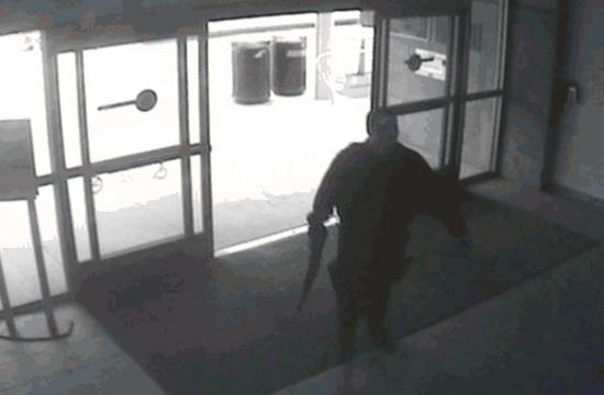 The suspect entering the Santa Monica College library on Friday.