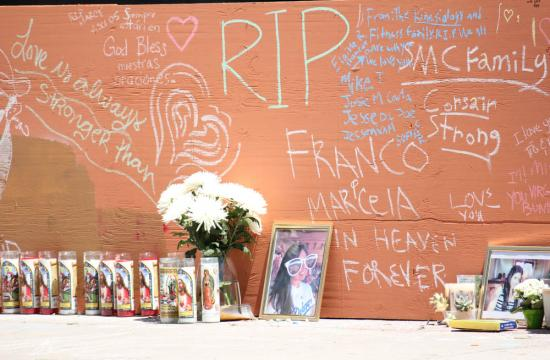 A wall on Pearl street memorializes the spot where Marcela Dia Franco and her father Carlos Navarro Franco