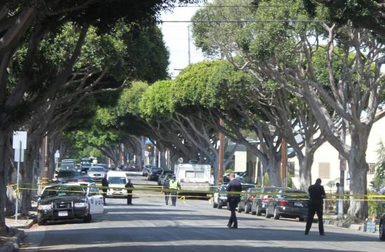 Santa Monica police closed off the 1500 block of Michigan Avenue Tuesday morning following the shooting of two men.