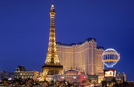 Paris Las Vegas sits in the center of the Las Vegas strip with nearly 3000 guestrooms.
