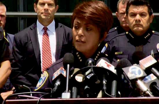 SMPD Chief of Police Jacqueline Seabrooks addresses the media at a recent press conference.