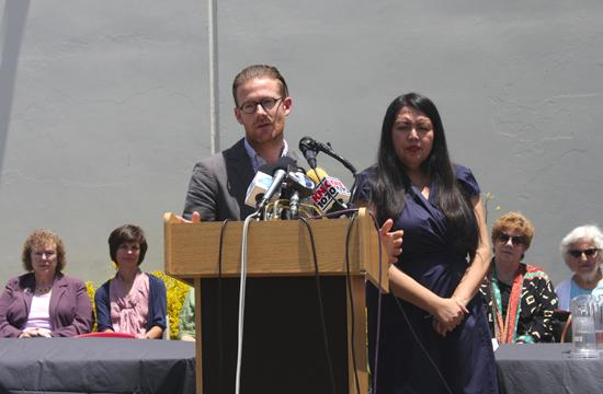 Santa Monica's Cradle to Career representatives Jonathan Mooney and Irma Carranza spoke at a press conference Tuesday about the importance of a collective approach to address youth and family violence.