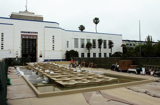 Contractors are still trying to figure out how to solve leakage problems with the new multi-tiered fountain project in front of City Hall.