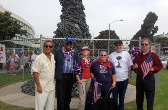Six former Santa Monica Mayors posed on July 4 for a photo to show their support for saving the 'Chain Reaction' sculpture.