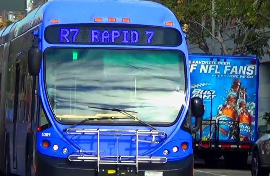 A Big Blue Bus in downtown Santa Monica.