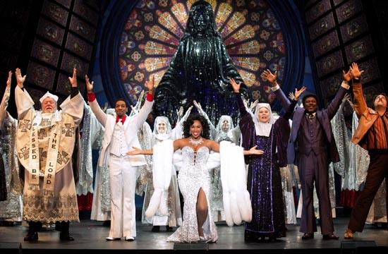 "The cast of ""Sister Act"" on stage at the Pantages Theatre in Hollywood."